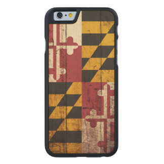 Maryland State Flag on Old Wood Grain Carved® Maple iPhone 6 Slim Case