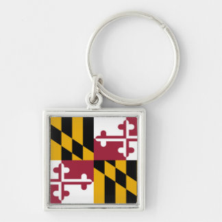 Maryland State Flag Silver-Colored Square Keychain