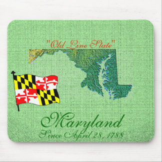 Maryland State Map, Flag Mouse Pad