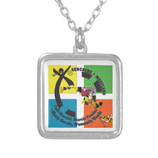 MARYLAND STATE MOTTO GEOCACHER SILVER PLATED NECKLACE