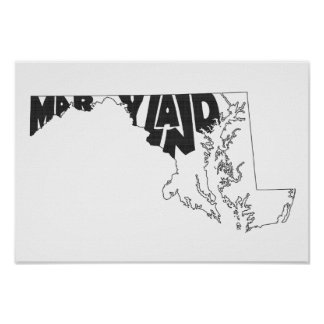 Maryland State Name Word Art Black Poster