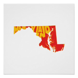 Maryland State Name Word Art Yellow Poster