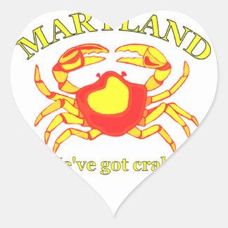 Maryland, tenemos cangrejos pegatina en forma de corazón