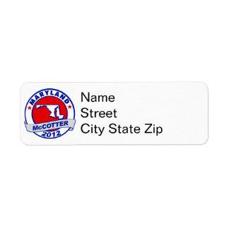 Maryland Thad McCotter Return Address Label