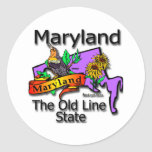 Maryland The Old Line State Bird Classic Round Sticker