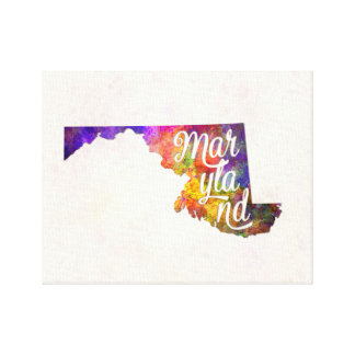 Maryland U.S. State in watercolor text cut out Canvas Print