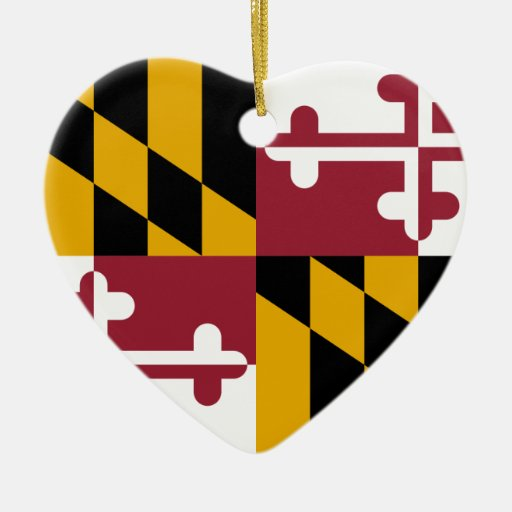 Maryland, United States Double-Sided Heart Ceramic Christmas Ornament