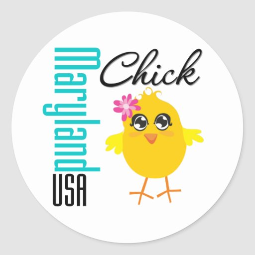 Maryland USA Chick Round Sticker