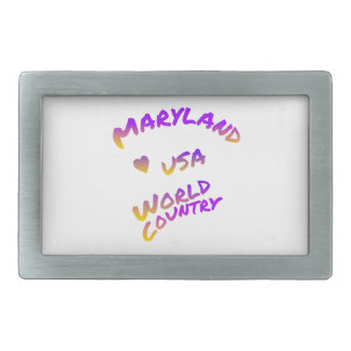 Maryland usa world country, colorful text art belt buckle