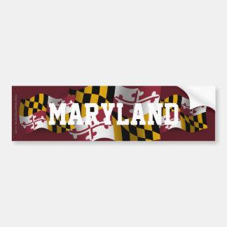 Maryland Waving Flag Car Bumper Sticker