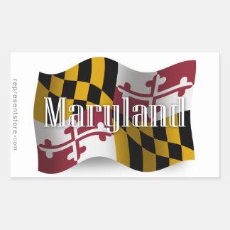 Maryland Waving Flag Rectangular Sticker