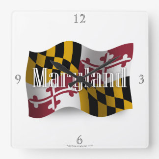 Maryland Waving Flag Square Wall Clock