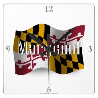 Maryland Waving Flag Square Wall Clock