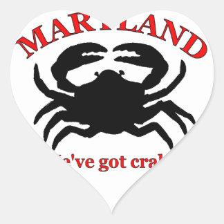 Maryland, We've Got Crabs Heart Sticker