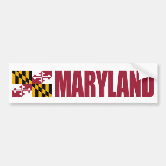Maryland with State Flag Bumper Sticker