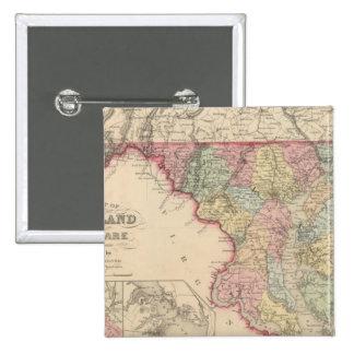 Maryland y Delaware 2 Pin Cuadrada 5 Cm