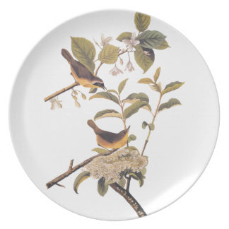 Maryland Yellowthroat Audubon Birds with Flowers Dinner Plate
