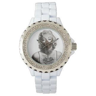 !!! Marylin Rhinestone White Enamel!!! Wristwatch
