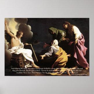 Marys,Jesus Tomb, He is Risen Bible Verse Artwork Poster
