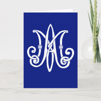 Mary's Monogram with roses Note Card