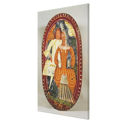 Marzipan box depicting a man and woman, c.1660 canvas print