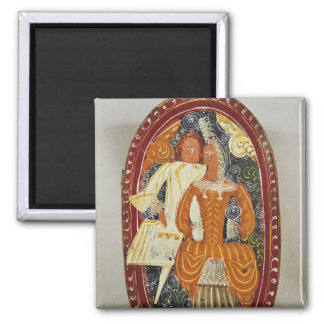 Marzipan box depicting a man and woman, c.1660 magnet