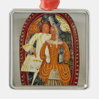 Marzipan box depicting a man and woman, c.1660 ornament