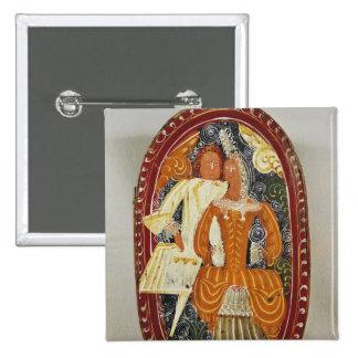 Marzipan box depicting a man and woman, c.1660 pinback button