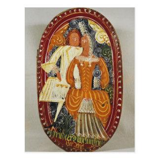 Marzipan box depicting a man and woman, c.1660 postcard