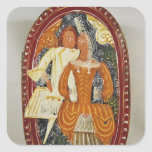 Marzipan box depicting a man and woman, c.1660 square sticker