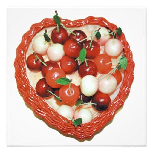 Marzipan cherries in heart basket photograph