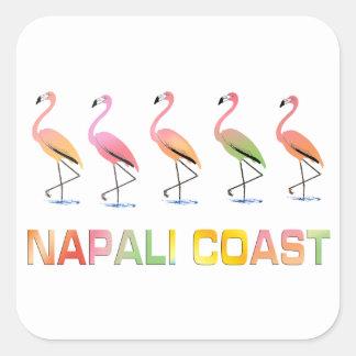 Marzo de la COSTA tropical de los flamencos NAPALI Pegatinas Cuadradases