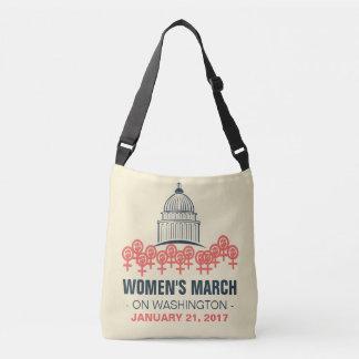 Marzo de las mujeres en la solidaridad de bolsa cruzada