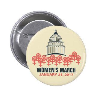Marzo de las mujeres en la solidaridad de pin redondo de 2 pulgadas