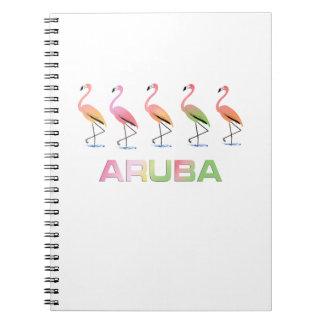 Marzo de los flamencos tropicales ARUBA Spiral Notebook