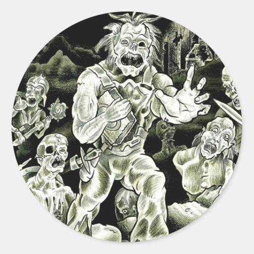Marzo de los zombis pegatina redonda