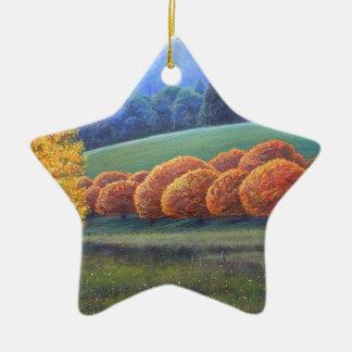 Marzo de robles brillantes adorno navideño de cerámica en forma de estrella