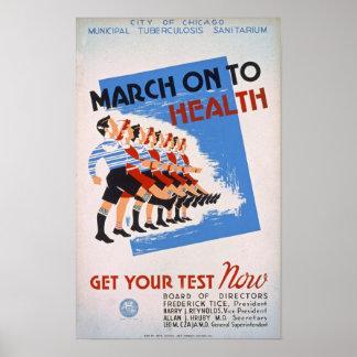 Marzo encendido al poster del vintage de la salud póster