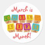 ¡Marzo es mes de la vida del niño! pegatinas Etiquetas Redondas