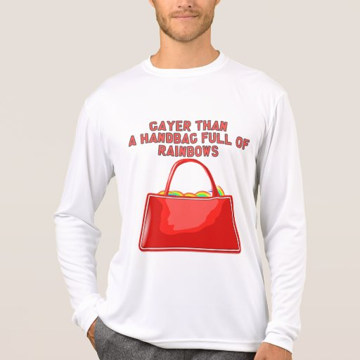 Más alegre que un bolso por completo de arco iris camiseta