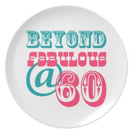 Más allá de la 60.a placa fabulosa del cumpleaños plato