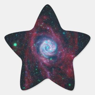 Más allá de la frontera de una galaxia pegatina en forma de estrella