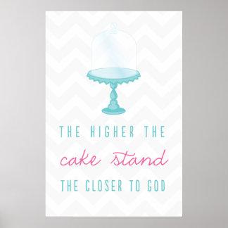 Más alto es el soporte de la torta más cercano a d póster