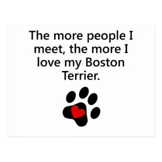 Más amor de I mi Boston Terrier Tarjeta Postal
