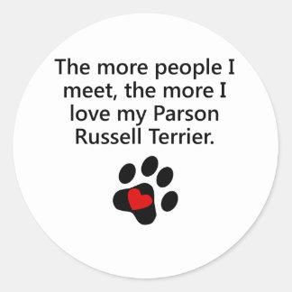Más amor de I mi párroco Russell Terrier Pegatinas Redondas