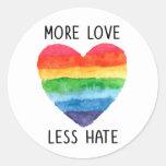 Más amor menos pegatinas del odio pegatina redonda