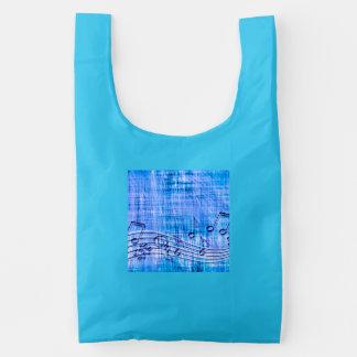 más azul de la música bolsa reutilizable