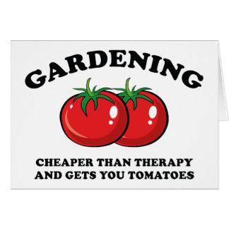 Más barato que terapia y le consigue los tomates tarjeta de felicitación