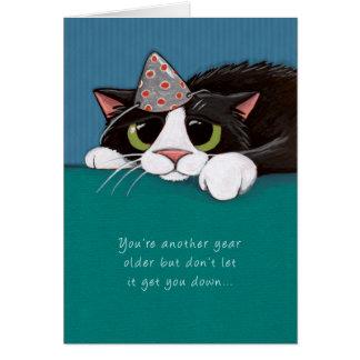 Más cercano a tarjeta de cumpleaños del gato del