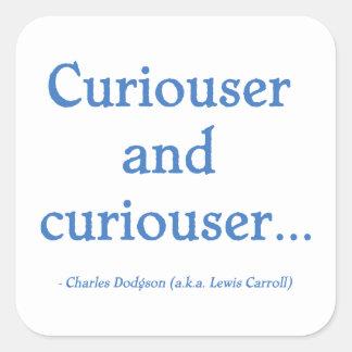 Más curioso y más curioso colcomanias cuadradas